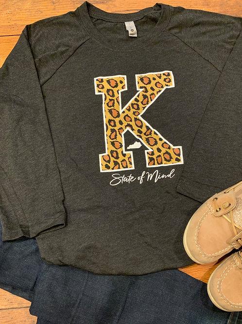 Leopard Print Kentucky K Baseball Tee