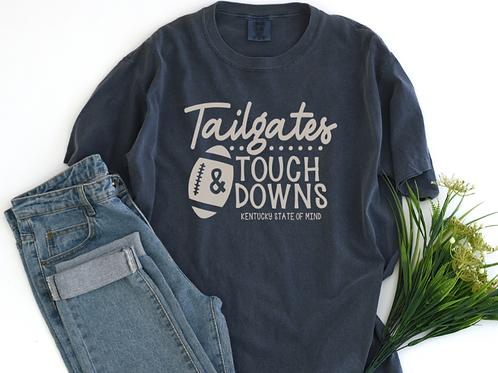 Tailgates and Touchdowns Denim Blue Tee Shirt