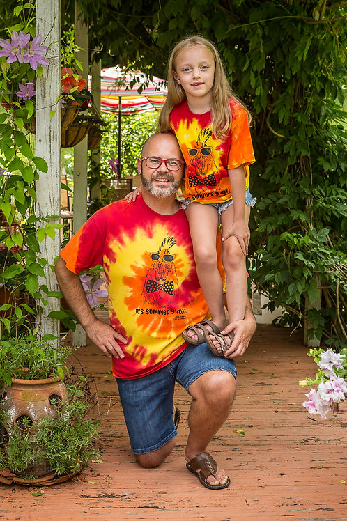 Chef Jason Smith Kids It's Summer Y'all Rooster Tie Dye Shirt