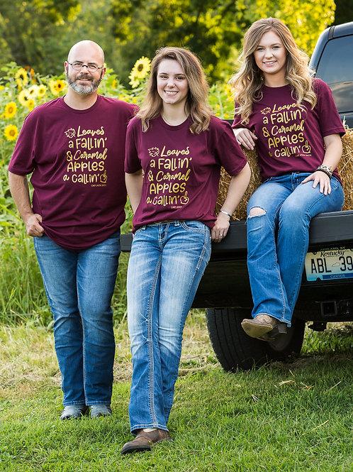 Leave A Falling Caramel Apples A Calling Maroon shirt