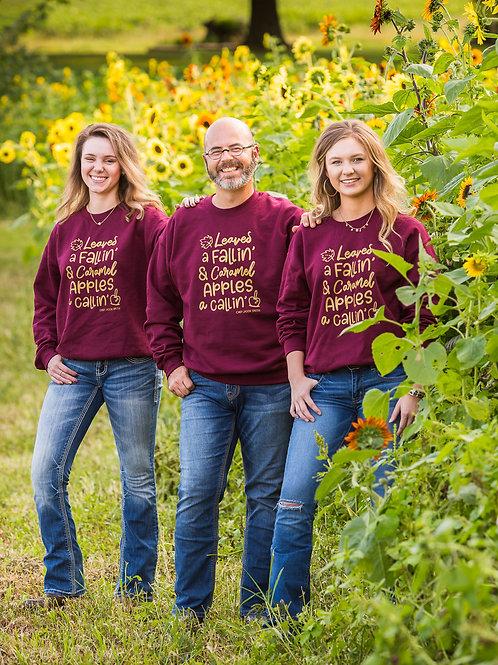 Leaves A Falling Caramel Apples A Calling Maroon sweatshirt