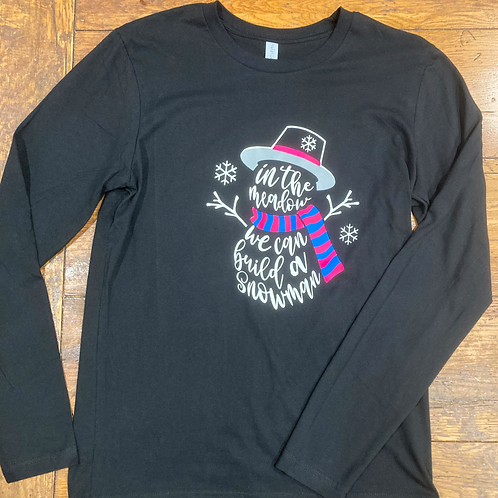 Snowman Long Sleeve Black Tee