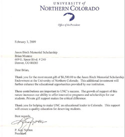 Endowment letter from UNC