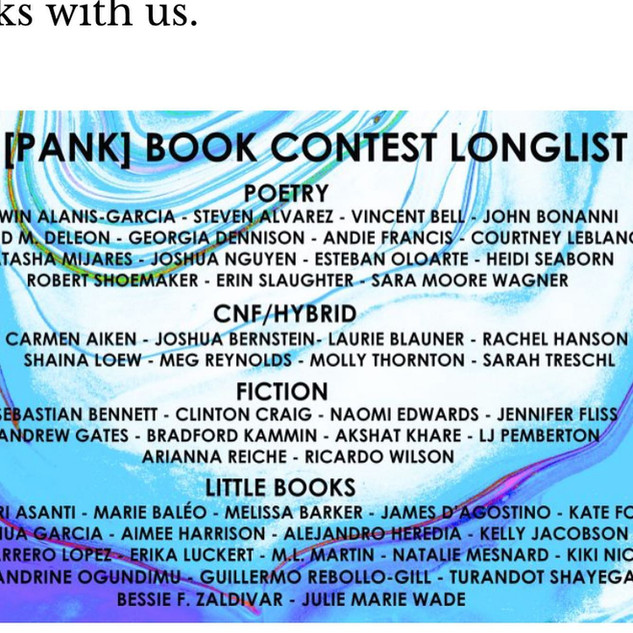 PANK Little Book Finalist!