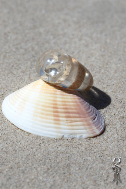 Resin Ring Dome style spiral of Cable beach Sand with Keshi pearl