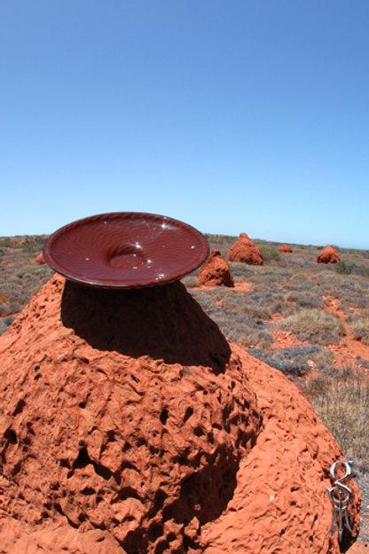 Round resin bowl featuring desert ripple pindan red sand & Keshi pearls