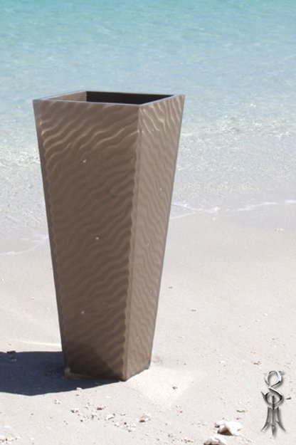 Large Resin Vase in desert ripple pattern cable beach sand featuring keshi pearl