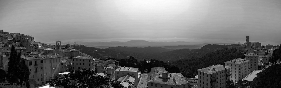 Panorama over Umbria from the top of Perugia