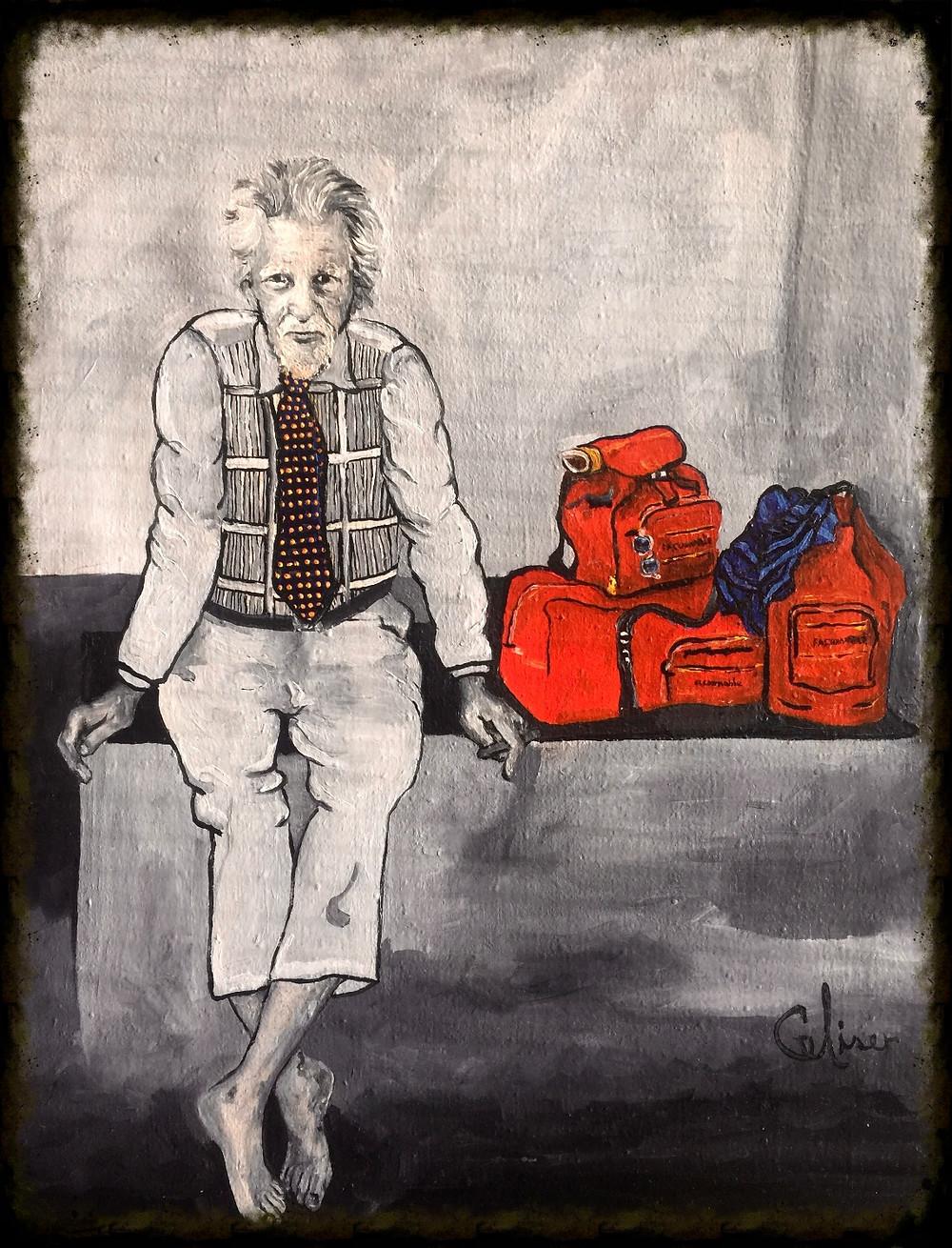 Pintura al oleo, representando a uno de los tantos personaje s que por algún motivo quedan excluidos de la sociedad.
