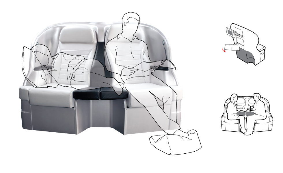 Airplane seat prototype  -Condé Nast Traveler-
