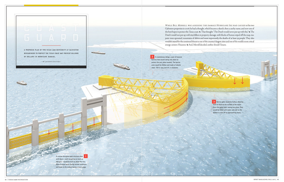 Proposed floodgates at Galveston, TX  -Spirit Magazine-