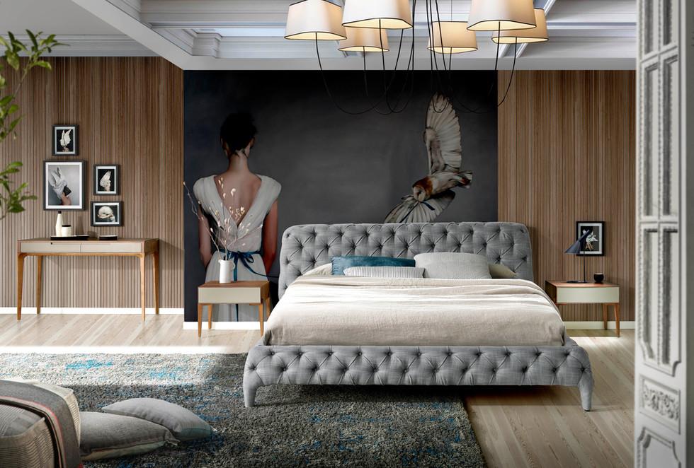 dormitorio de diseño cabecero capitone   muebles modernos sevilla   Estudio de interiorismo Sevilla