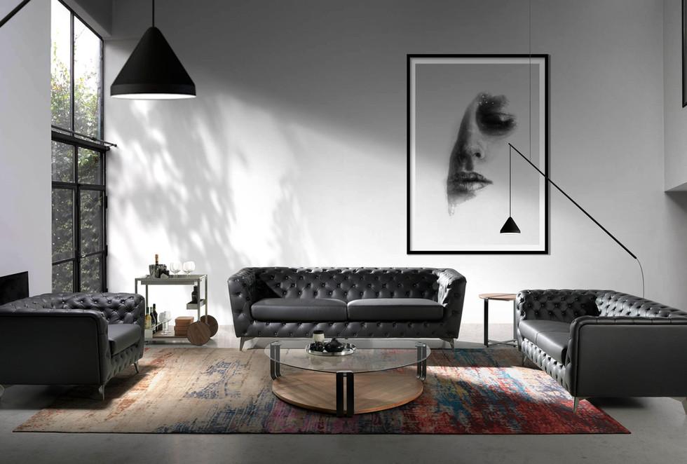 sofá chester tapizado capitoné salones modernos   muebles modernos sevilla   Estudio de interiorismo Sevilla