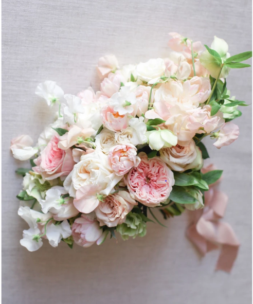 Blush and white sweetpea, roses, tulips,