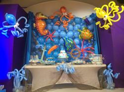 Under sea theme balloon wall