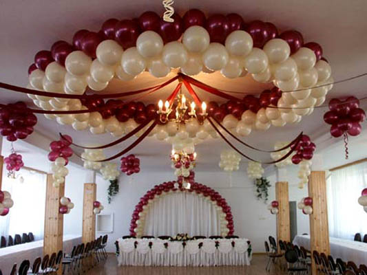 Burgundy and White Ceiling Decor
