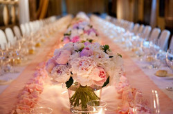 Pink Rose Petal Wedding Reception