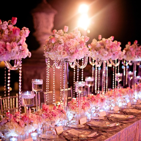 Pink flower centerpiece with crystal
