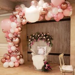 Blush Organic Balloon Garland & Wicker C