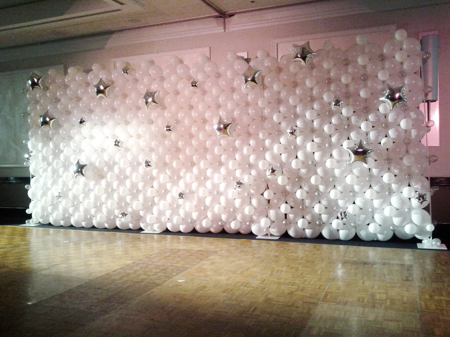 White Balloon Wall With Stars