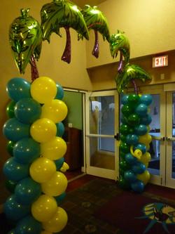 Tropical themed balloon columns