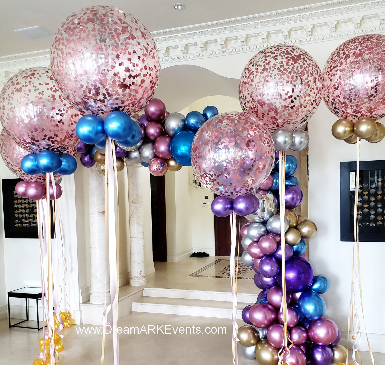 Chrome & confetti balloons