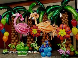 Flamingo & palm tree balloon sculpture