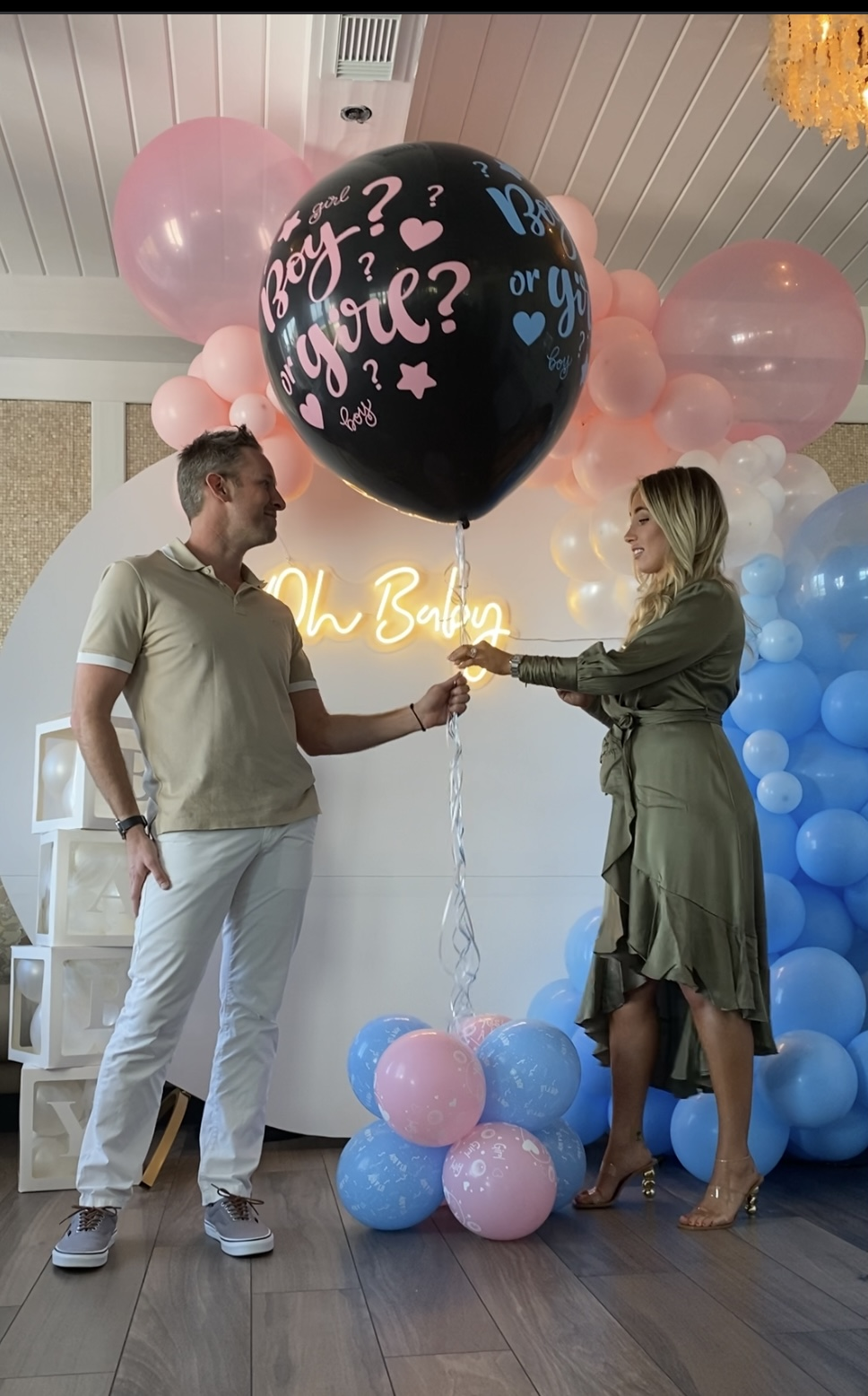 Gender Reveal Party Backdrop & Confetti Balloon