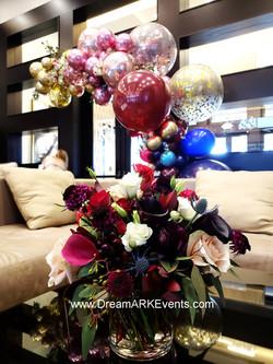 Burgundy Balloon Arch & Flowers