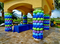 Cover column with balloons
