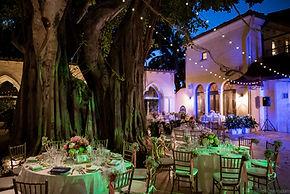 Wedding reception setup with lights