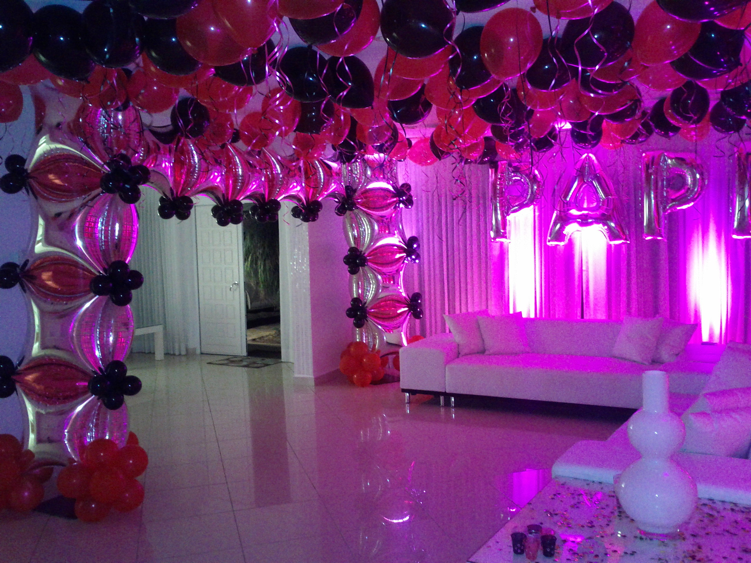 Pink and Black balloon arch