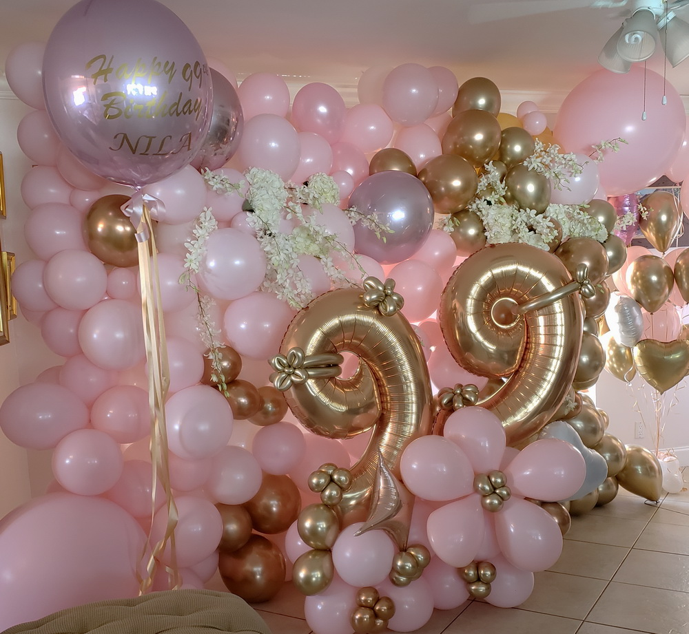 Organic blush and gold balloon backdrop!.