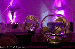 Flowers centerpieces & purple light