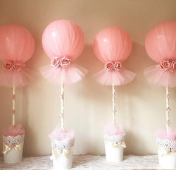 Pink tulle Balloons with Flowers