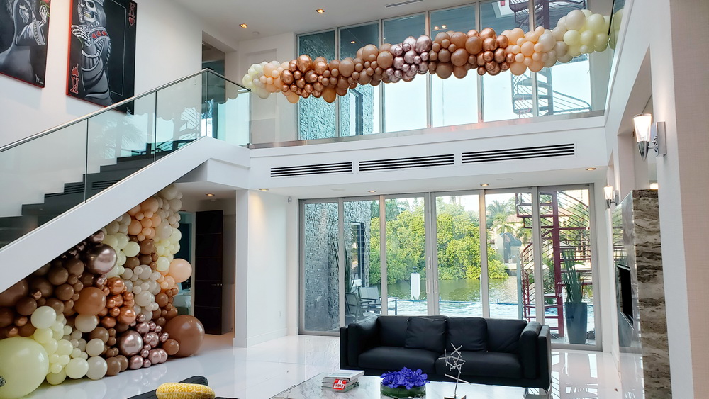 Brown Goldish Balloon Wall and Garland