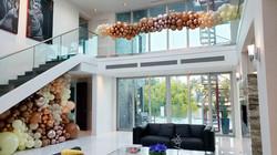 Brown Goldish Balloon Wall and Garland