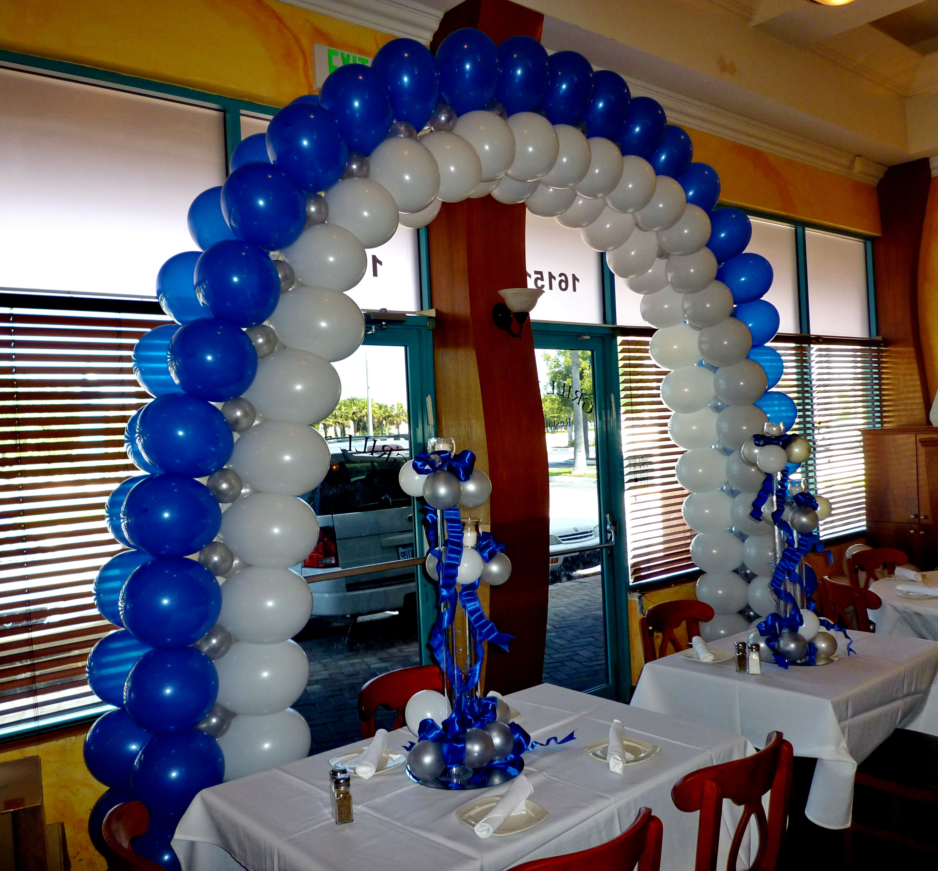 Blue & White Balloon Arch