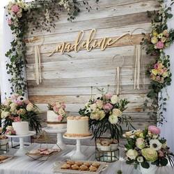 Wood Backdrop & Field Flowers
