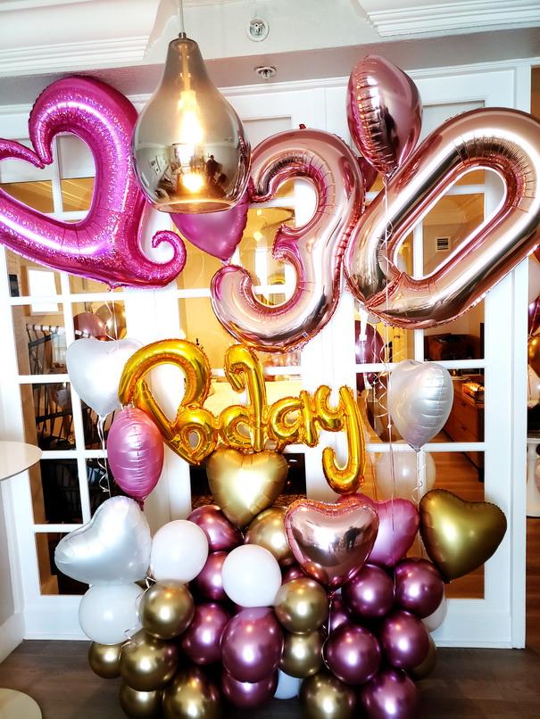 Custom balloon design, rose gold number