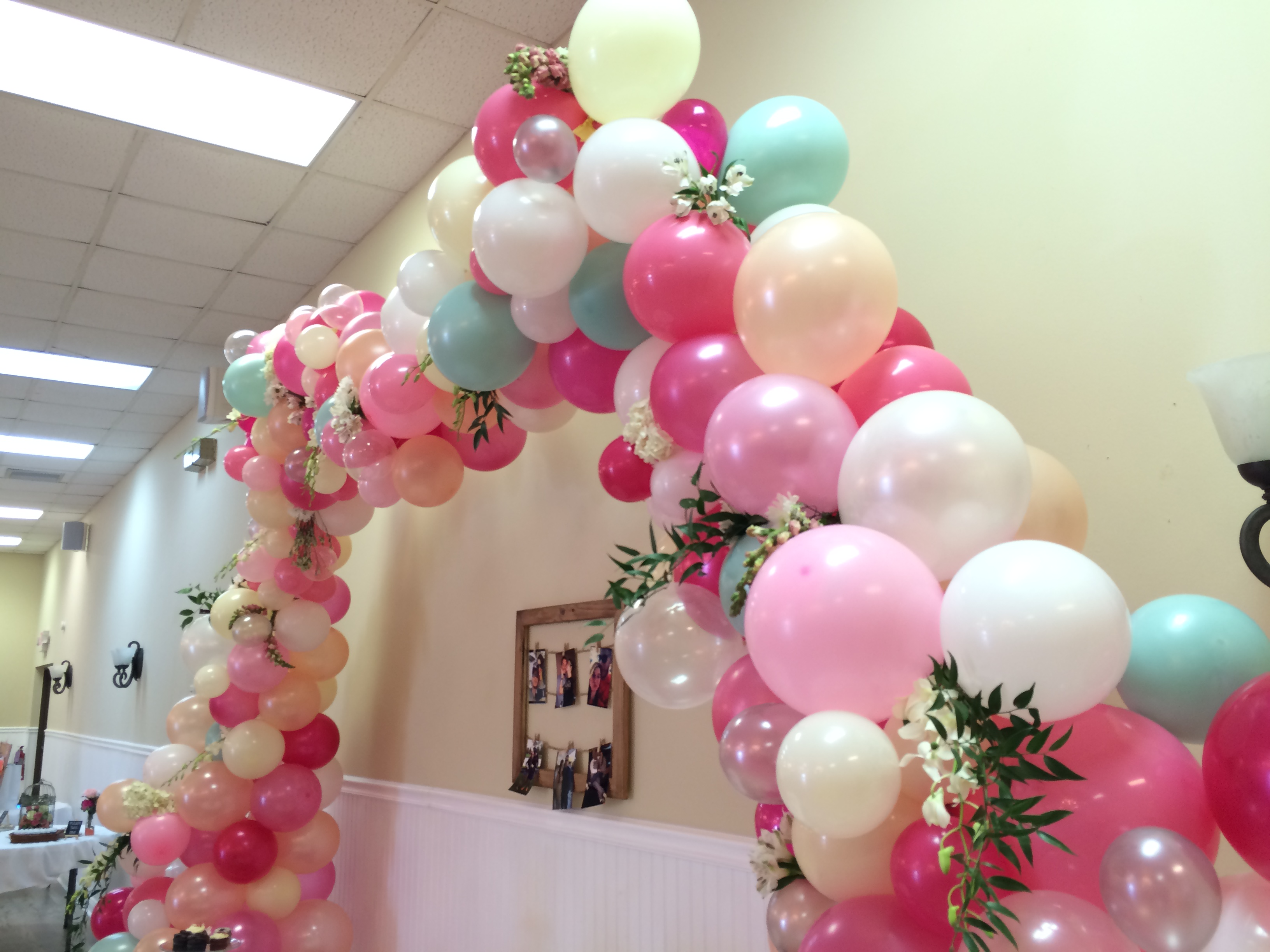 Balloon Arch with Flowers and Greens