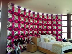 Mylar silver & magenta balloon wall