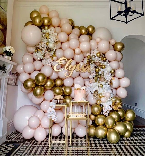 Gold and Blush Balloon Wall
