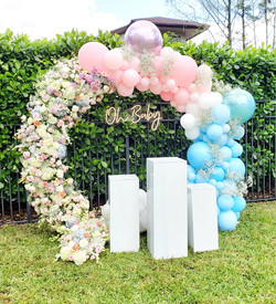 Gender reveal circle backdrop with neon