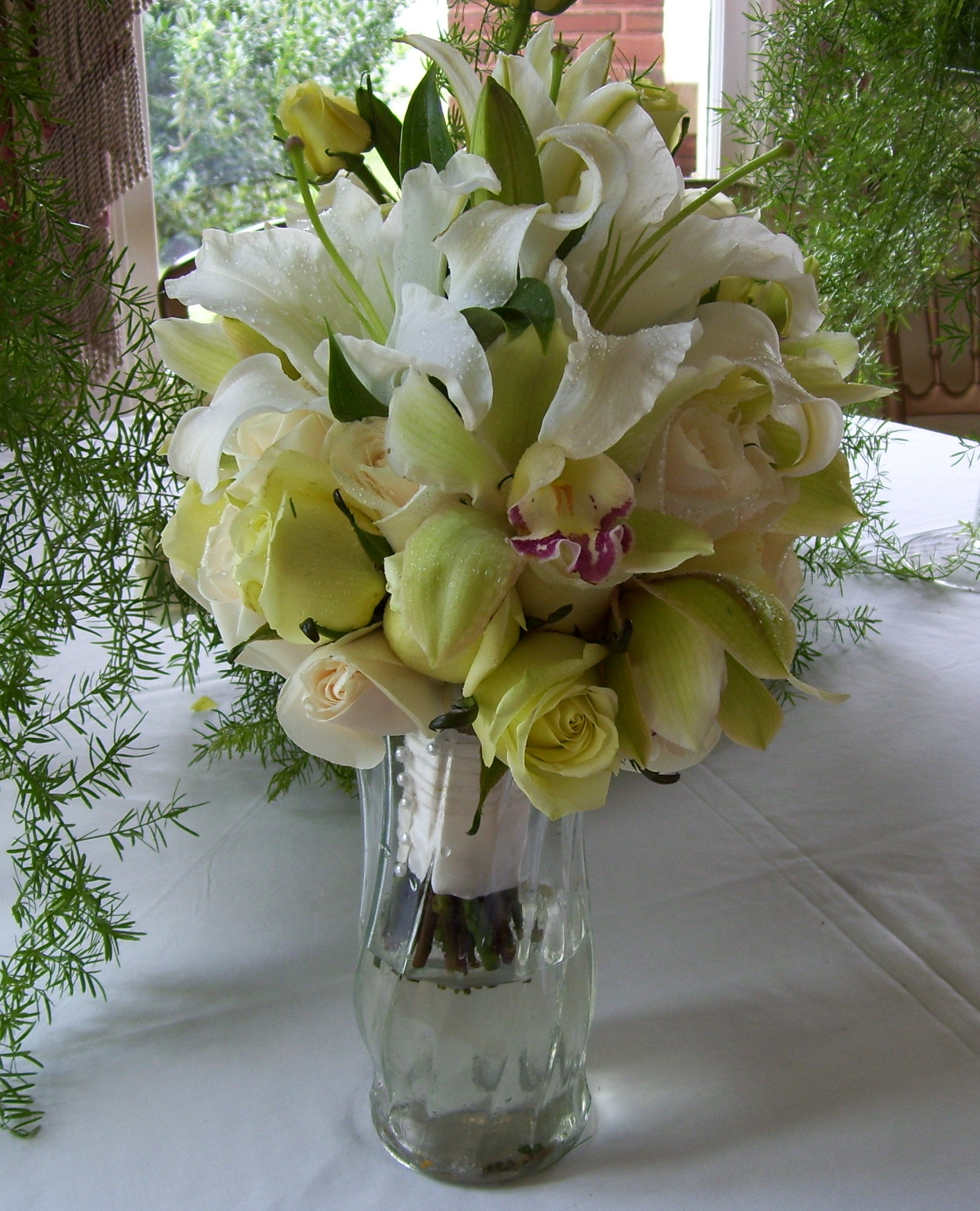 Bridal Bouquet Orchids, Roses, Lilly