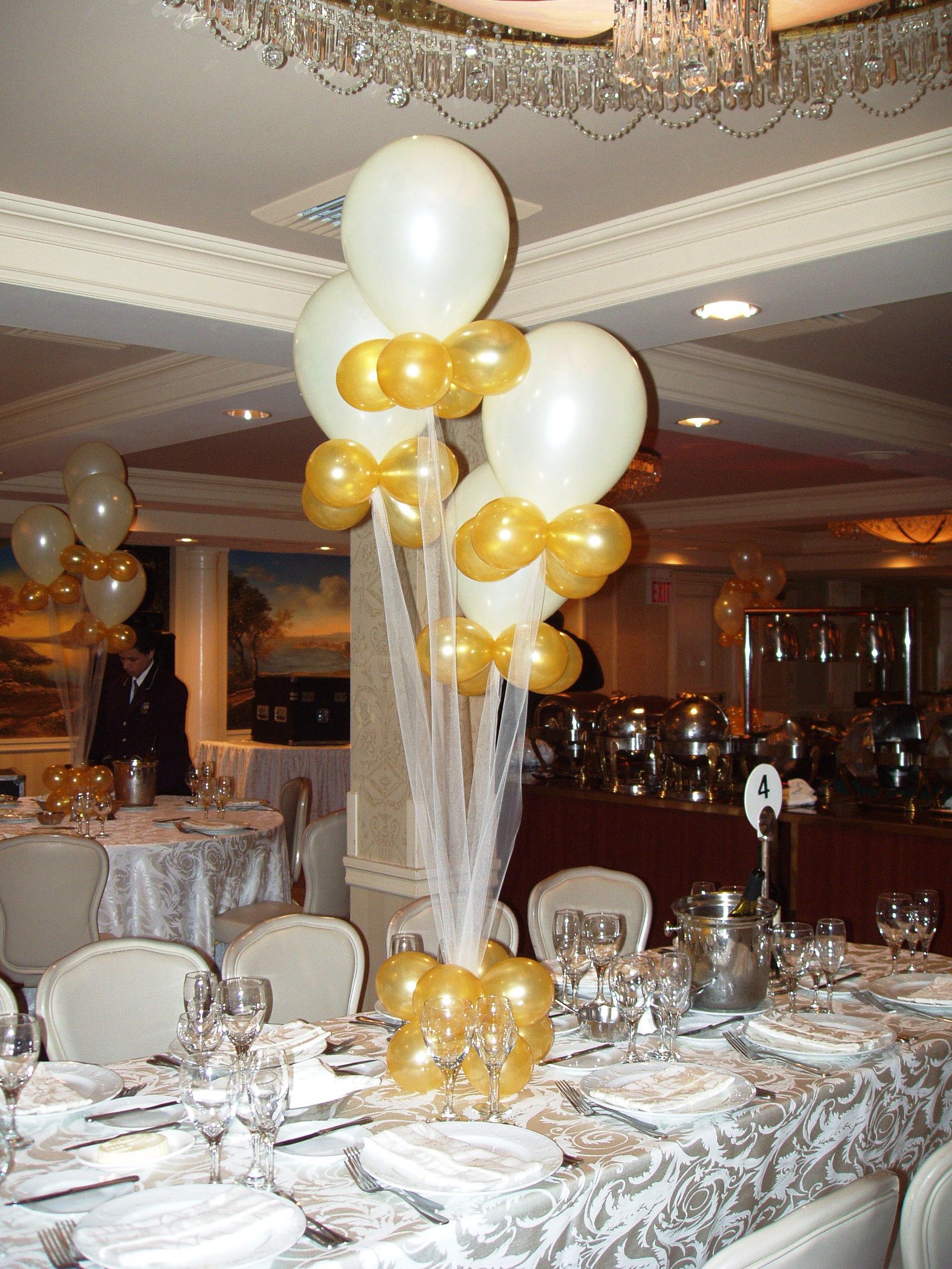 Elegant White & Gold Balloons