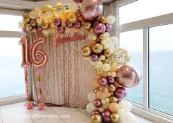 Rose Gold Organic Balloon Arch, confetti