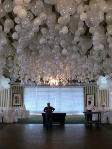 Balloons hanging from a ceiling