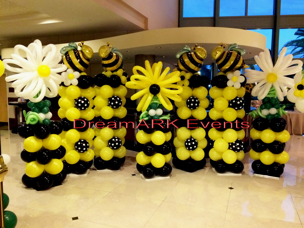 Honey Bee & Balloon Flower Column