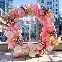Circle Backdrop with organic balloon gar